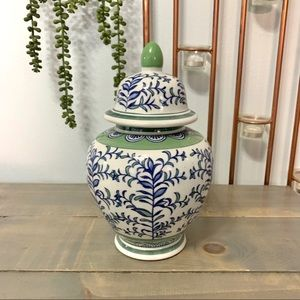 Floral Ceramic Lidded Urn White Green Blue